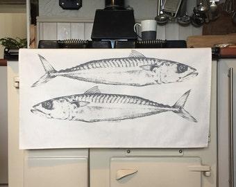 Mackerel tea towel from original pencil drawing