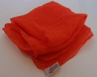 Bright orange silk scarf made in Japan