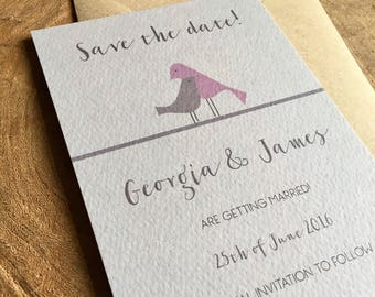 Love birds save the date card - sample