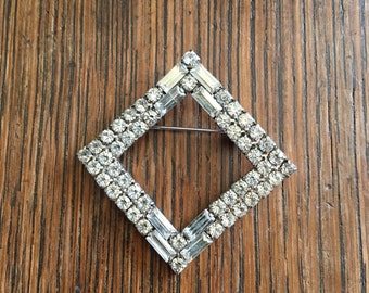 Vintage Rhinestone Diamond Shaped Brooch