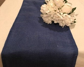 blue burlap runner,burlap runner,wedding table runner