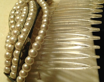 Vintage Hair Comb with Faux Pearls