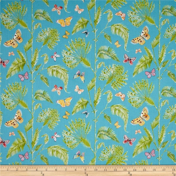 Butterfly palm turquoise from dena designs butterfly for Dena designs tea garden fabric