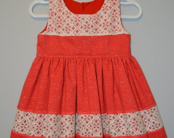 Size 1 Little Girls Dress, Special Occasion,Fancy Christmas Dress, Birthday, Wedding, Red with White Lace Vintage Dress, Elegant.