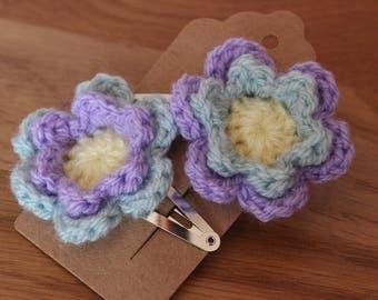 Pair of Crochet Flower Hair clips – Purple / Duck Egg