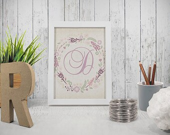 Printable letter D wall decor INSTANT DOWNLOAD
