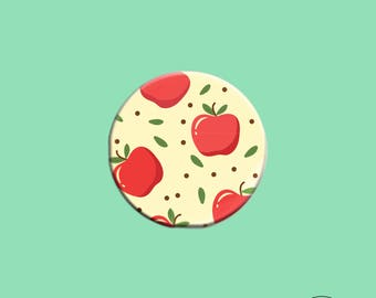 Cute Apple Pattern Button - 1.25 Inches Button - Pinback Button - Button Badge - Gift for Teacher - Red and Yellow - Fruit Pin Button - Food