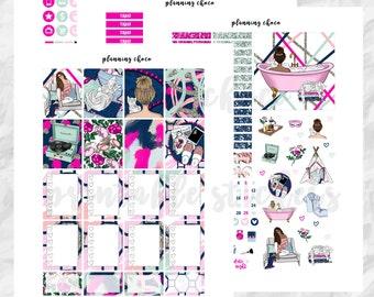 Me Time printable planner stickers /EC vertical weekly kit / ECLP / pdf, jpg, cut files