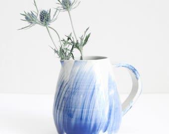 blue brushed water jug, pot, vase, medium, shiny, handmade, wheel thrown, stoneware, ceramic, glazed