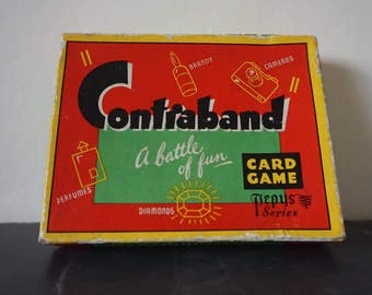 Mid Century Contraband Card Board Travel Game