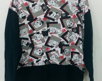Rare!! vintage 101 Dalmatians cartoon Disney sweatshirts full print M saiz