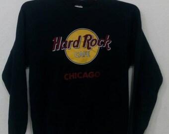 Rare!! Vintage hard rock cafe Chicago sweatshirts M size black colour