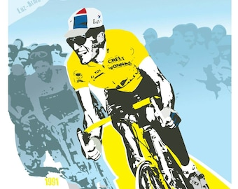 Cycling tour de france legend unframed print. Miguel Indurain. 2 styles available