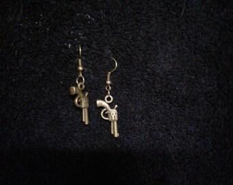 Brass Revolver Earrings
