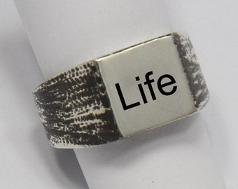 """Dark ring-Seal (Chevalier) square with initial (letter)-Silver 925-for girl and boy, Male Female-""""free shipping"""""""
