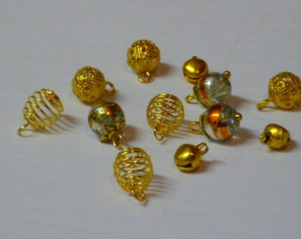12 Dolls House Christmas Tree Bauble Miniature Decorations Gold