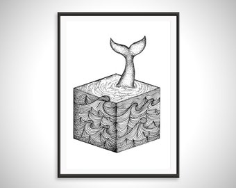 Surreal Geometric Whale Art - Art Print - Hand Drawn Illustration