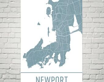 Newport RI Map, Newport Art, Newport Print, Newport RI Art Poster, Newport Wall Art, Newport Gift, Map of Newport, Newport Decor, Gift