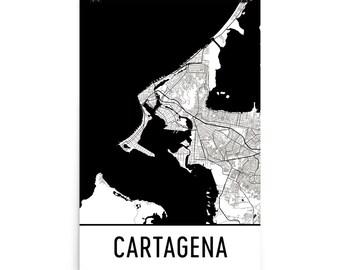 Cartagena Map, Cartagena Art, Cartagena Print, Cartagena Colombia Poster, Cartagena Wall Art, Map of Cartagena, Cartagena Gift, Art, Decor