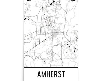 Amherst Map, Amherst Art, Amherst Print, Amherst MA Poster, Amherst Wall Art, Map of Amherst, Amherst Gift, Amherst Poster, Amherst Decor