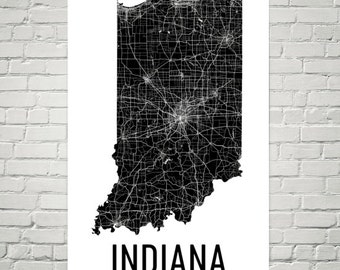 Indiana Map, Indiana Wall Art, Indiana Print, Indiana Art, Indiana Sign, Indiana Gifts, Indiana Decor, Indiana Poster, Map of Indiana, Home
