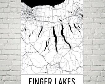 Finger Lakes, Finger Lake Map, Keuka, Cayuga, Skaneateles, Seneca, Upstate New York, Lake Art, Fishing, Lake House Art, Ithaca, Syracuse