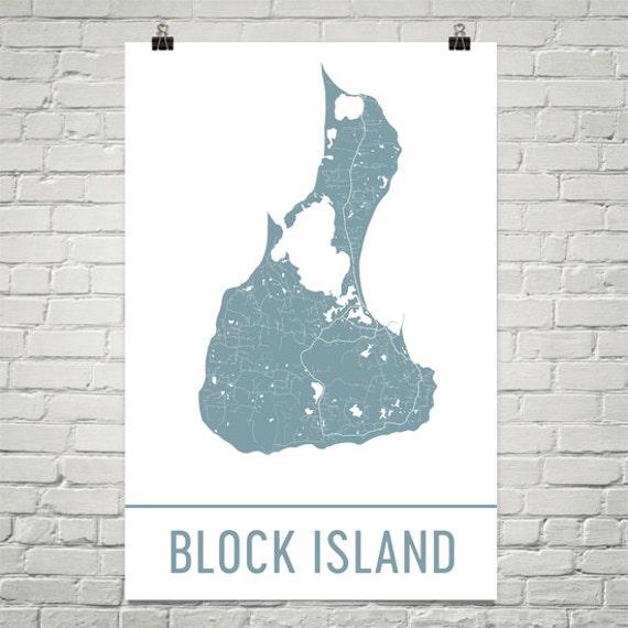 Block Island: Block Island Map Block Island Art Block Island Print Block