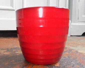 Scheurich Dark Pinky Red Plant Pot, Made Germany c 1970s, Indoor Terracotta Plant Pot, Ribbed Pot, Plants, Flowers, Indoor Pots