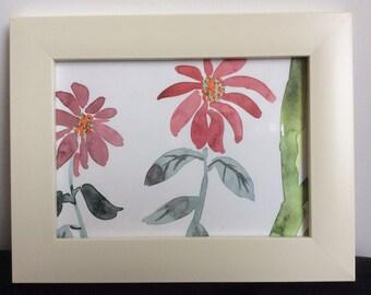 Framed Aquarel 'Flowers'
