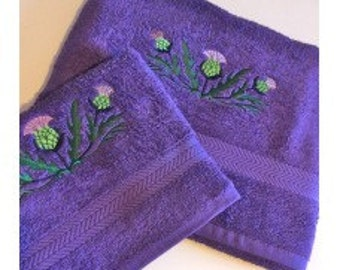 Embroidered Scottish Thistle Hand and Bath Towel Set with Sparkle Thread for a Modern Look