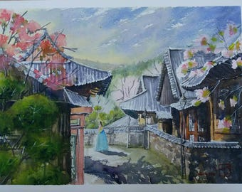 Strolling through an old village. Original watercolour. Oriental building.