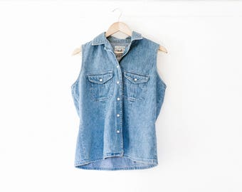 Vintage Denim Button Down Tank // Size M