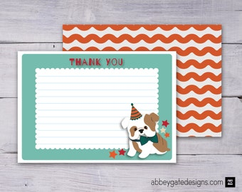 Bulldog Thank You Card, Bulldog Thank You Note, Printable Thank You Note, Printable Thank You Card, Green Thank You Note, Instant Download