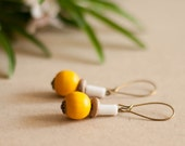Wooden earrings made of vintage beads, yellow