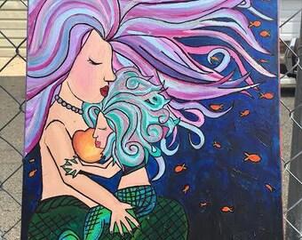 mama and baby mermaid