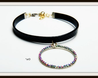 Chocker, Chocker necklace, Black chocker, Leather-look chocker, Metallic round pendant, Sparkling Czech crystals AB!