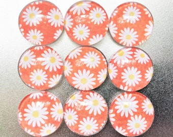 Daisy Magnets in Decorative Tin | Set of 9 | Super Strong | Handmade | Glass Magnets | Orange Magnets | Flower Magnets | Fridge Magnets