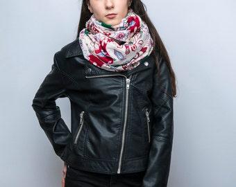 Infinity scarf, tube scarf, snood, loop scarf, floral print, pink, women's tube scarf, ladies scarf, floral print fabric, retro print scarf