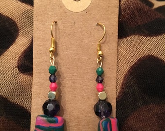 Pink and green polymer clay bead dangle earrings