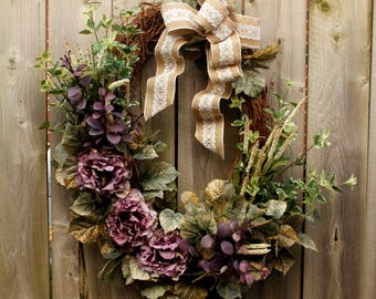 Spring Oval Grapevine Wreath, Purple and Beige Front Door Wreath, Peonie Wreath, Burlap Bow, Home Decor Wreath, Housewarming Gift