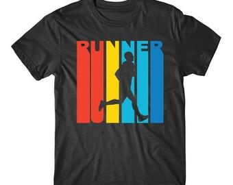 Retro 1970's Style Runner Silhouette Running T-Shirt