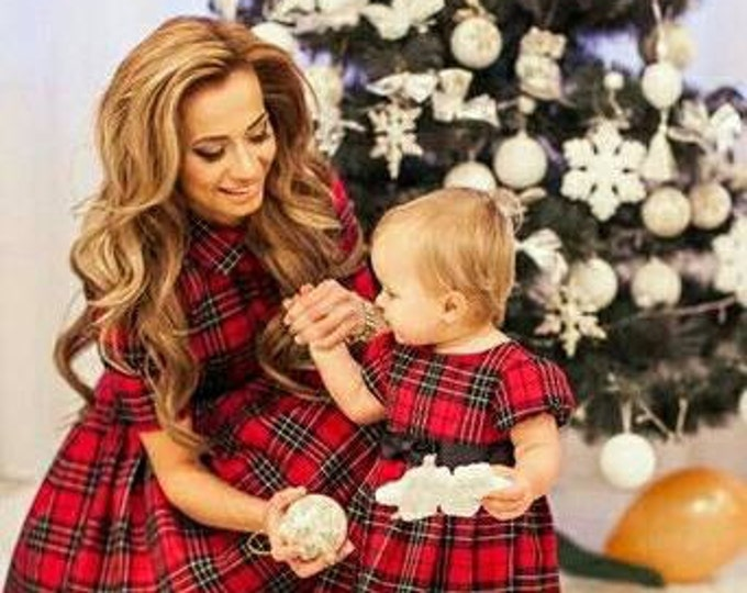 Plaid Mother daughter matching dress, Tartan Mom Daughter matching maxi dress Plaid dress flared long dress Custom made Family clothes