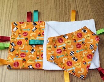 Orange Stop Sign Taggy Blanket and Bandanna Bib Gift Set