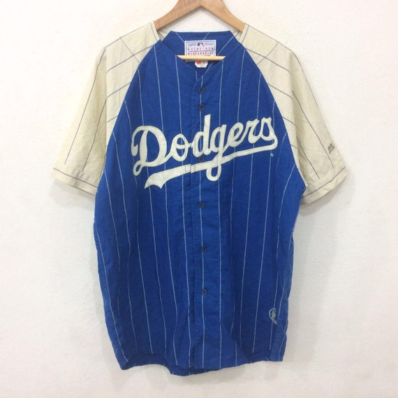 Vintage DODGERS Genuine Merchandise by MIRAGE Baseball V Neck Button Striped Tshirt Blue Colour Medium Size