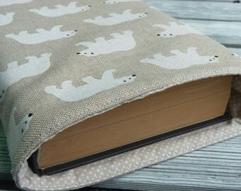 Bear Book sleeve, Book Sleeve, Book Bag, bear gift, Fabric Book cover , Book Lover, Protective Book Pouch, Paperback Cover, hardback cover