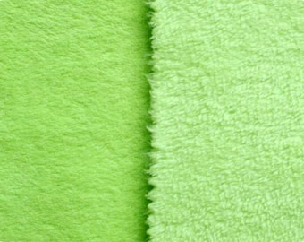"""Lime Green Cuddle Furry Fleece Reversible Fabric 56""""Wide"""