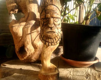 Wood statue, wood carving, carved wood totem, barbarian sculpture, handmade, home decor, rustic decoration, natural wood art, barbarian gift