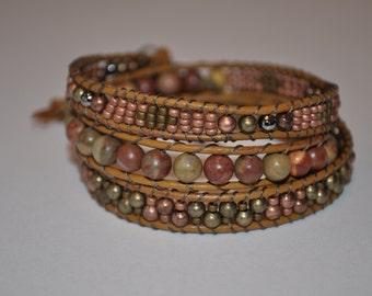 Leather and bead bracelet, boho style bracelet, fall colorbracelet