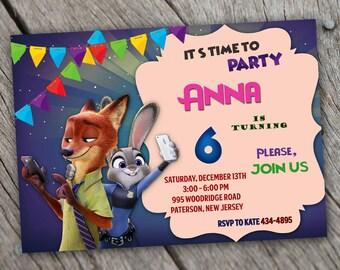 Zootopia Invitation. Zootopia Birthday Invitation. Zootopia Party Invitation Card. Zootopia Celebration Printable Zootopia Digital File.