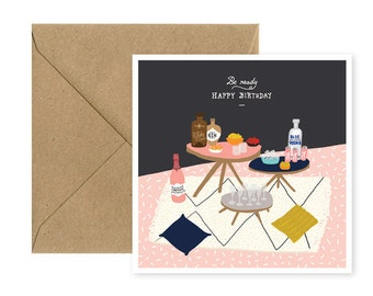 Square - Happy Birthday - party card